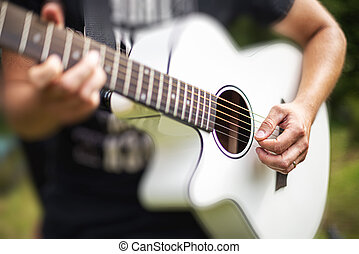 אקוסטי, playing., גיטרה