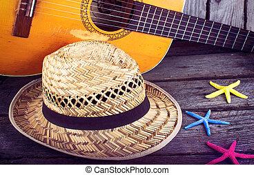 אקוסטי, starfi, כובע, גיטרה, ככב