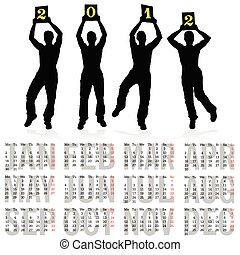 ארבעה, לוח שנה, איש, צללית, 2012
