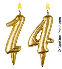 ארבעה עשר, נרות, יום הולדת, מספר, הפרד