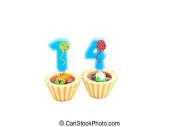 ארבעה עשר, נרות, עוגות, יום הולדת, שנים