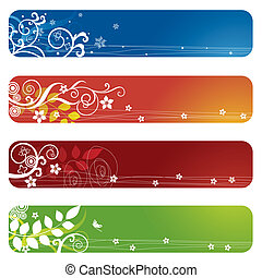 ארבעה, פרחוני, דגלים, bookmarks, או