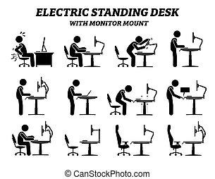 ארגונומיך, צפה, חשמלי, לעמוד, טפס., שולחן, שולחן