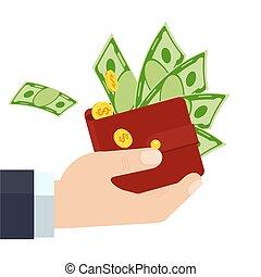 ארנק, איש עסקים, הצלחה, להחזיק, כספי, כסף.