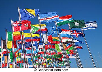 ארצות, עולם, דגלים, מסביב