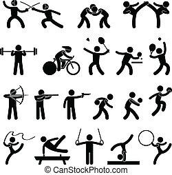 אתלטי, משחק, שבתוך הבית, ספורט, איקון