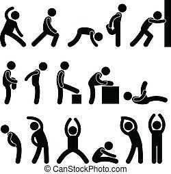 אתלטי, מתוח, התאמן, אנשים