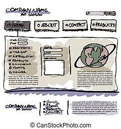 אתר אינטרנט, דפוסית, וקטור, editable