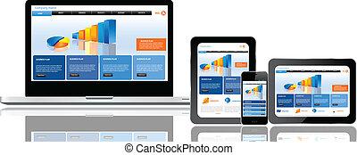 אתר אינטרנט, כפולה, דפוסית, מכשירים