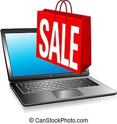 אתר אינטרנט, קניות של רשת, מכירה, שקית, מכירה, אונליין, דגל