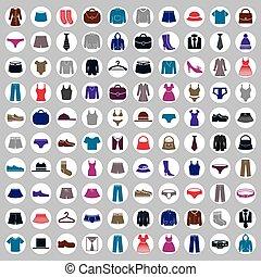 בגדים, וקטור, אוסף, איקונים