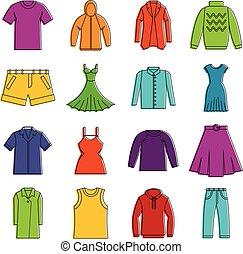 בגדים, שרבט, שונה, קבע, איקונים