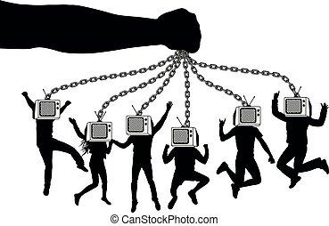 בובות, דחוס, chains., מחזיק, אנשים, העבר, זומבי, tv., מחזיק, פאפפאטיר, television., איש