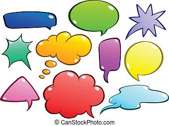 בועות, קבע, נאום, צבעוני