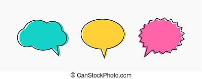 בועות, set., תאר, illustration., צבעוני, נאום, וקטור