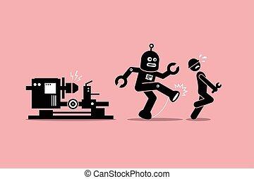 בועט, שלו, בן אנוש, הלאה, עובד, רובוט, טכנאי, עבודה, מכונאי, factory.