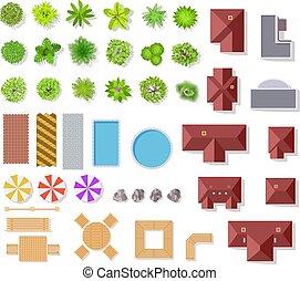 בושים, נוף, וקטור, אנטנה, בתים, הבט, הפרד, הציין, צרף, עצים, אדריכלי, קבע, התכנן, ספסלים, ירוק, elements., גן