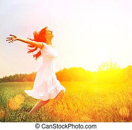בחוץ, enjoyment., nature., חינם, ילדה של אישה, להנות, שמח