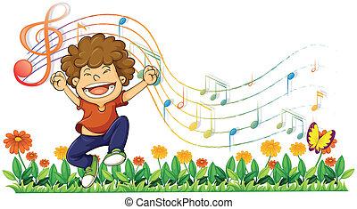 בחור, לשיר, רואה, חזק, מוסיקלי, out