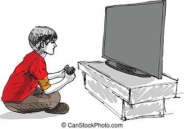 בחור, משחק, מחשב, לשחק