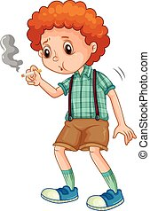 בחור, קטן, לנסות, עשן, סיגריה
