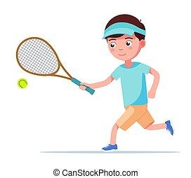 בחור, רוץ, כדור, טניסאי, מחבט