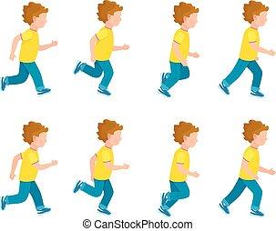 בחור, שדון, set., לרוץ, אנימציה, 8, הסגר, loop.
