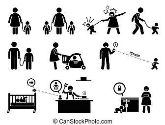 בטיחות, equipment., צפה, ילד