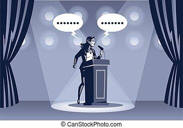 ביים, צוארון, כחול, דוגמה, מתחת, נאום, הדגש, מוסר, אישה, מושג, עסק