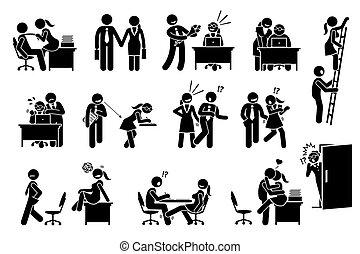 בין, מערכת יחסים, משרד, עניין, לפלרטט, אהוב, workers., כ.ו.