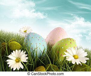 ביצים מקושטות, דשא, חג הפסחה, חינניות