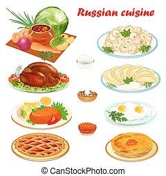 בישול, קבע, המבורגר, חביתיות, כופתות, דוגמה, רוסי, ביצים מעורבבות, מרק, עוגה