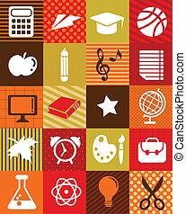 בית ספר, איקונים, -, השקע, רקע, חינוך