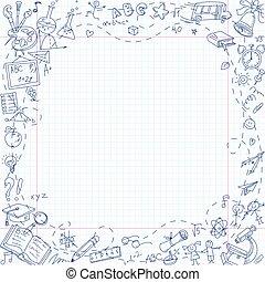 בית ספר, דף, פריטים, הזמן, נייר מכתבים, freehand, ציור, התאמן