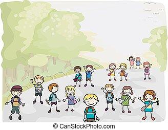 בית ספר, ללכת, הדבק, ילדים