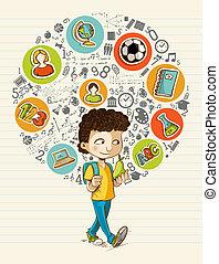 בית ספר, צבעוני, איקונים, boy., השקע, חינוך, ציור היתולי