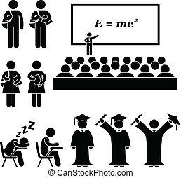 בית ספר, קולג', סטודנט של אוניברסיטה