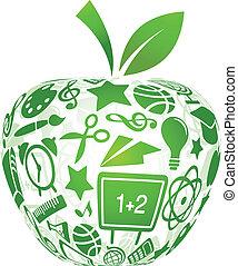 בית ספר, תפוח עץ, איקונים, -, השקע, חינוך