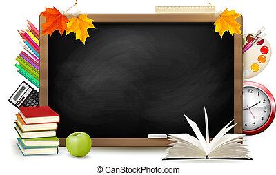 בית ספר, school., לוח, השקע, supplies., vector.