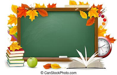בית ספר, school., leaves., השקע, סתו, ירוק, vector., שולחן, הספקות