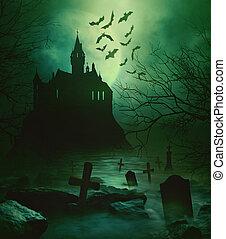 בית קברות, מפחיד, מפחיד, למטה, מתחת, טירה