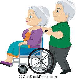 בכור, גברת, כיסא גלגלים, ישן, קשר