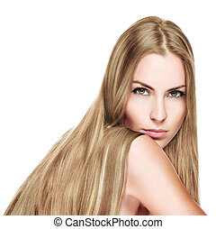 בלונדיני, אישה יפה, ארוך, שיער ישר