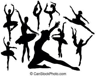 בלט, צלליות, -, וקטור, רקדנים