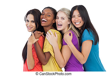 בלתי-דומה, לצחוק, מצלמה, נשים, להתחבק, צעיר