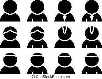 בן אדם, וקטור, שחור, איקונים