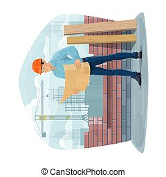 בניה, אדריכל, הנדס, או, foreman., אתר
