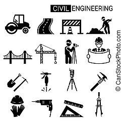 בניה, להנדס, עצב, תשתית, אדיב, קבע, איקון
