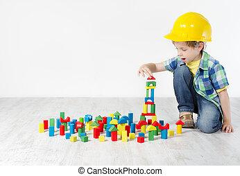 בנין, בחור, מושג, city., קשה, בניה, התפתחות, blocks:, כובע, לשחק