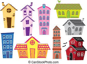בנין, דיר, קבע, ציור היתולי